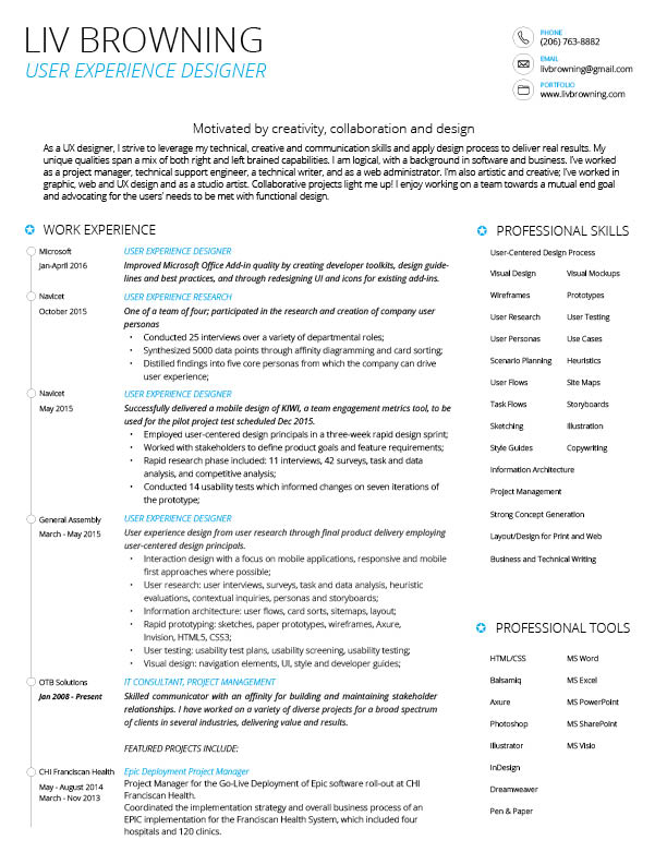 Resume Page 1 ...  User Experience Designer Resume